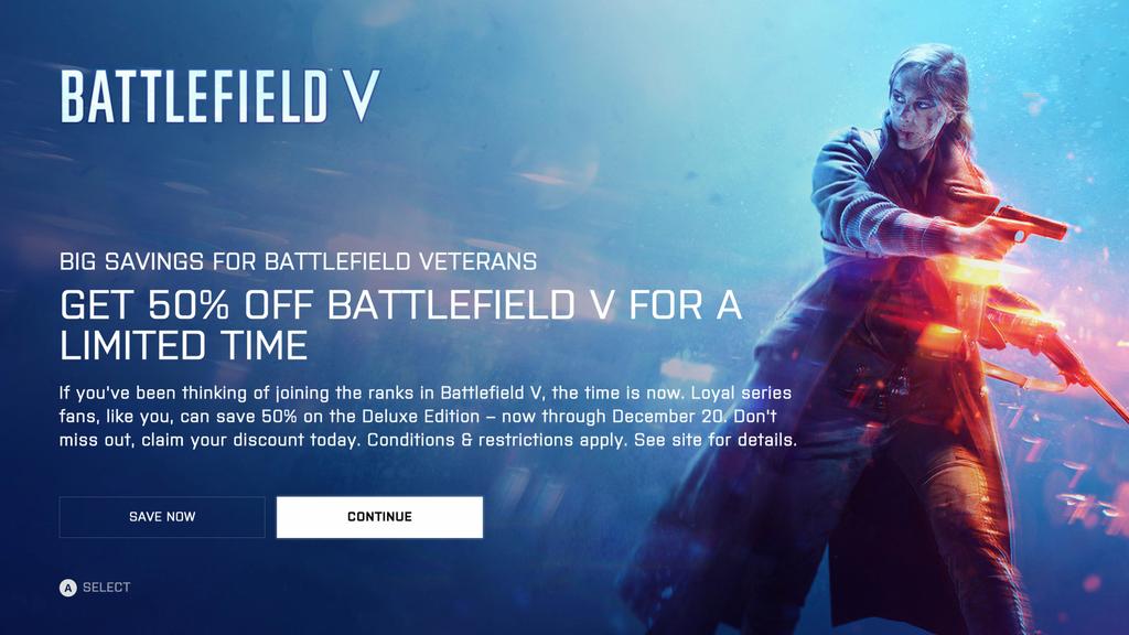 EA acordă o reducere de 50% la Battlefield V pentru cei care dețin Battlefield 1 & BF4