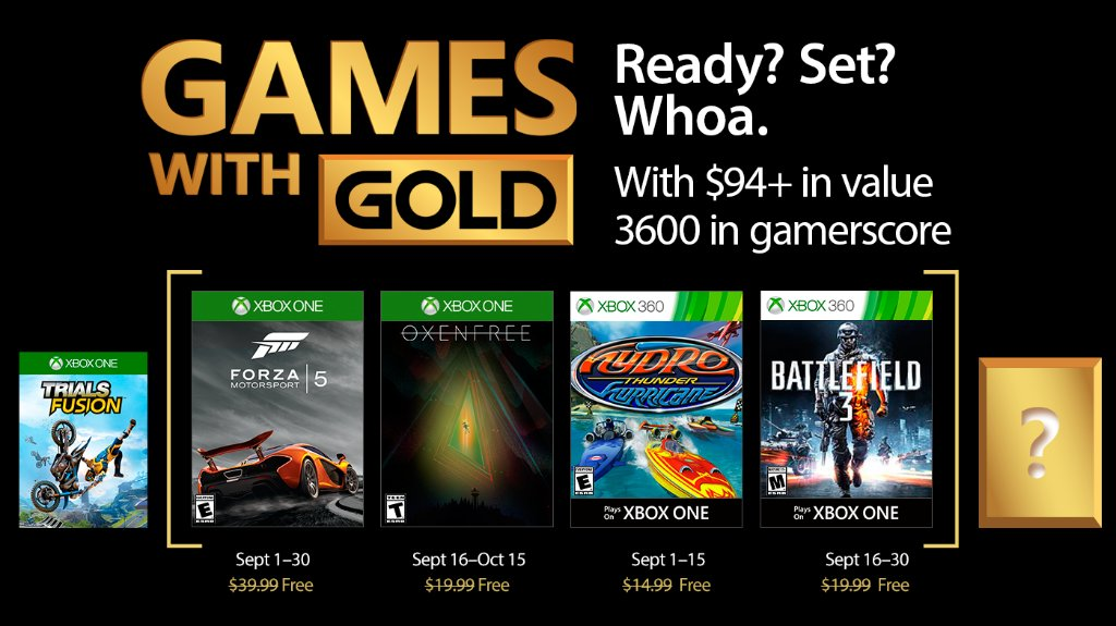 Games with Gold Septembrie