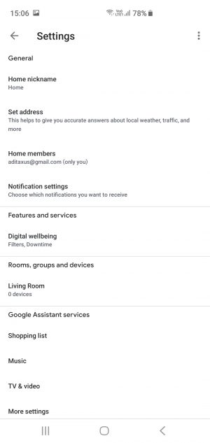 Settings Google Assistant