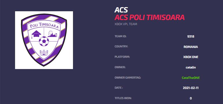 ACS Poli Timisoara ACS - Pro Clubs